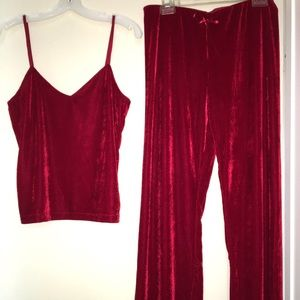 PajamaGram Tempting Touch Red Velour set- M NEW